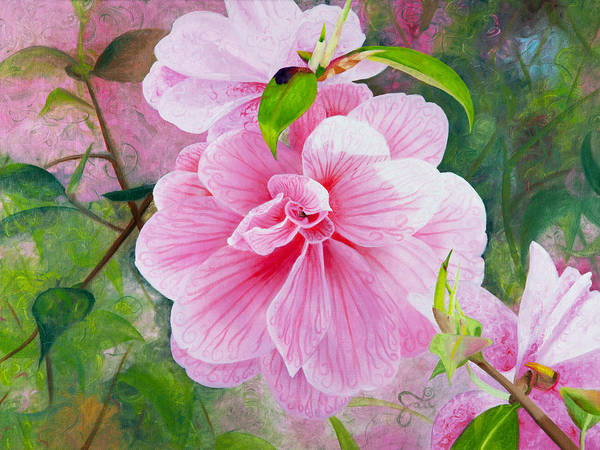 Pink Flower Poster featuring the painting Pink Swirl Garden by Shelley Irish