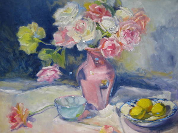 Roses Poster featuring the painting Pink Vase by Susan Jenkins