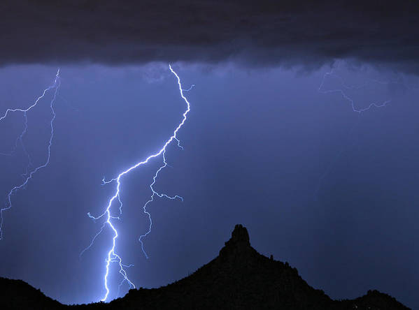 Pinnacle Peak; North Scottsdale; Arizona; Phoenix; Desert; Lightning; Storms; Striking; Bolts; Landscapes; Nature; Stock Images; Wall Art; Photography; Weather; Sky; Skyscape; Tmed Exposure; Posters; Canvas Prints; Canvas Art; Striking-photography.co Poster featuring the photograph Pinnacle Peak Lightning by James BO Insogna