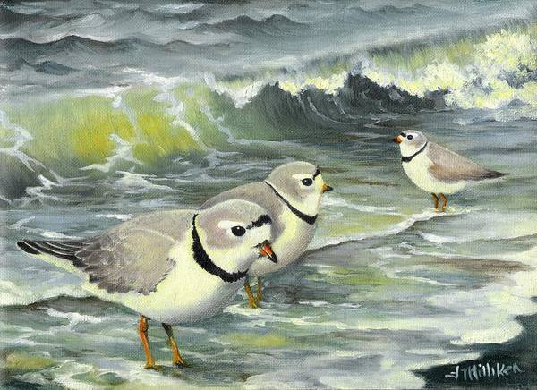 Piping Plovers Poster featuring the painting Piping Plovers At The Shore by Tara Milliken