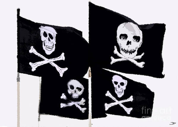 Pirate Flags Poster featuring the painting Pirate Flags by David Lee Thompson