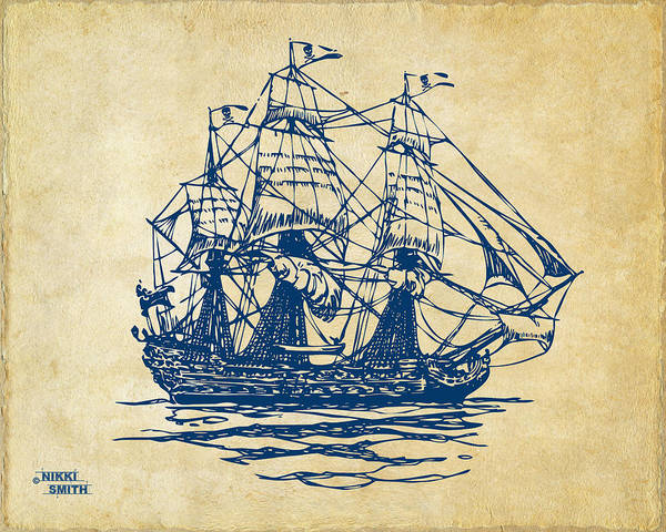 Pirate Ship Poster featuring the drawing Pirate Ship Artwork - Vintage by Nikki Marie Smith