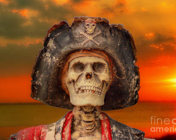 Pirate Poster featuring the digital art Pirate Skeleton Sunset by Randy Steele