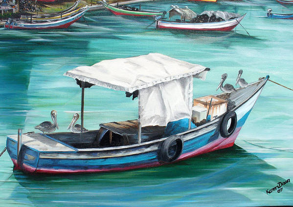 Fishing Boat Painting Seascape Ocean Painting Pelican Painting Boat Painting Caribbean Painting Pirogue Oil Fishing Boat Trinidad And Tobago Poster featuring the painting Pirogue Fishing Boat by Karin Dawn Kelshall- Best