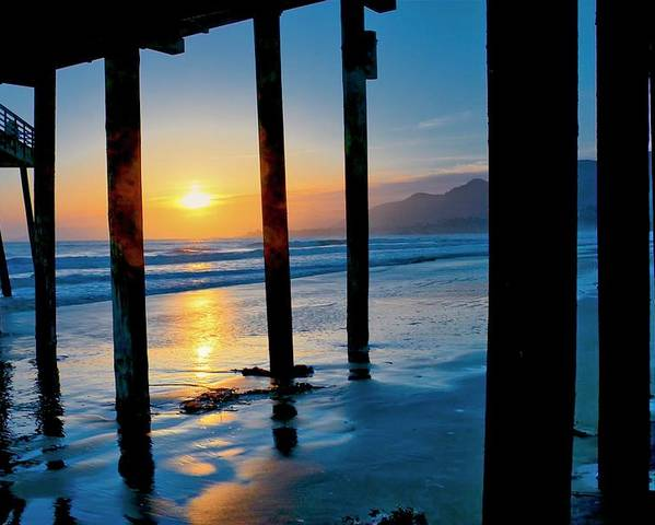 California Poster featuring the photograph Pismo Beach Pier Sunset by Zayne Diamond Photographic