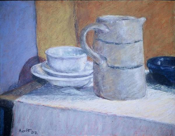 Still Life Poster featuring the painting Pitcher With Bowl And Plate by Dolores Holt