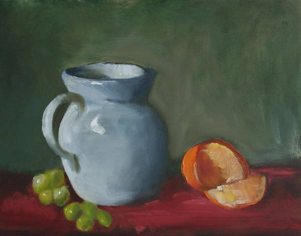 Still Life Poster featuring the painting Pitcher With Fruit by Rf Hauver