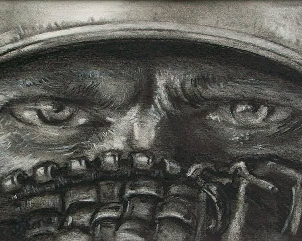 Baseball Poster featuring the drawing Pitchers Eyes by Tom Forgione