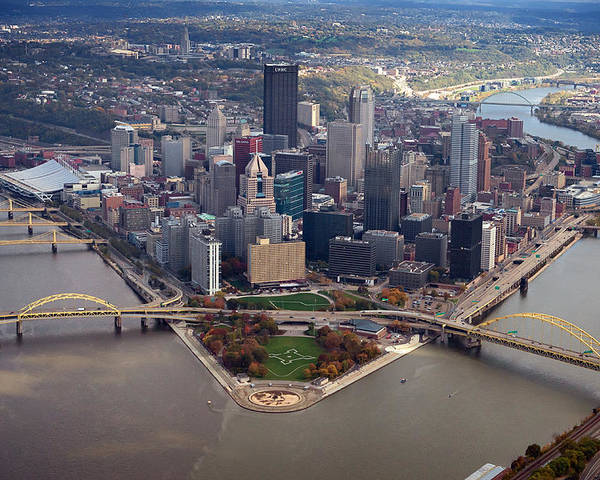Aerial Photography Poster featuring the photograph Pittsburgh 8 In Color by Emmanuel Panagiotakis