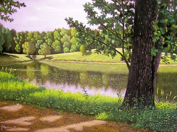 Landscapes Poster featuring the painting Place For The Heart by Larry Hoskins