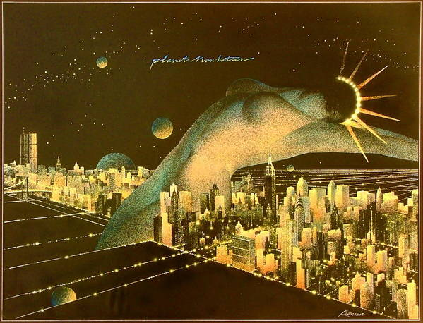 Female Poster featuring the painting Planet Manhattan by Gary Kaemmer