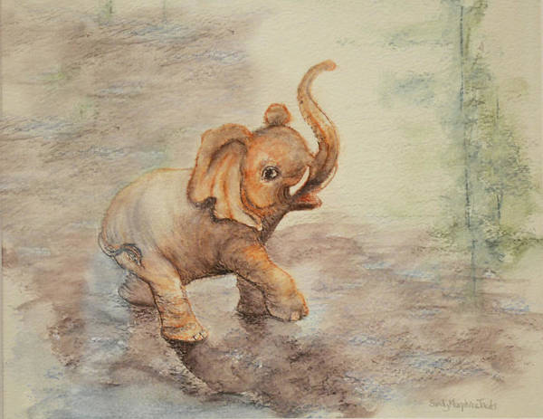 Elephant Poster featuring the painting Playful Elephant Baby by Sandy Murphree Jacobs