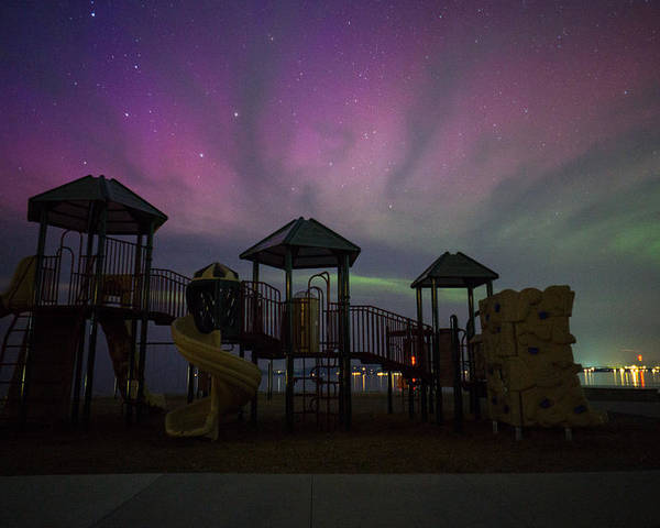 Northern Lights Poster featuring the photograph Playground Aurora by LuAnn Griffin