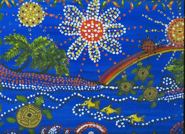 Ocean Party Poster featuring the painting Playing In The Sun by Laura Johnson
