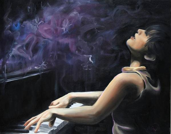 Piano Poster featuring the painting Playing With Feeling by Maryn Crawford