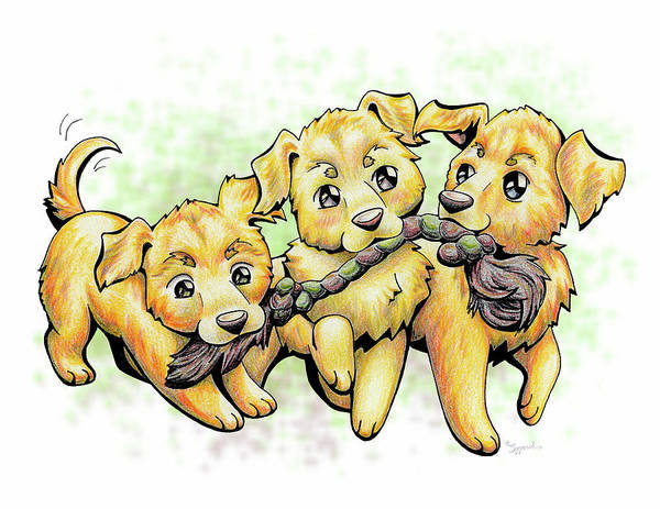 Puppy Poster featuring the drawing Playtime Golden Retriever by Sipporah Art and Illustration