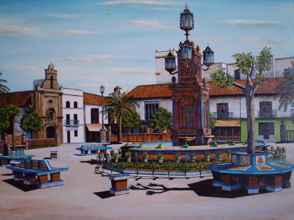 Spain Poster featuring the painting Plaza Alta by Mayte Heredias