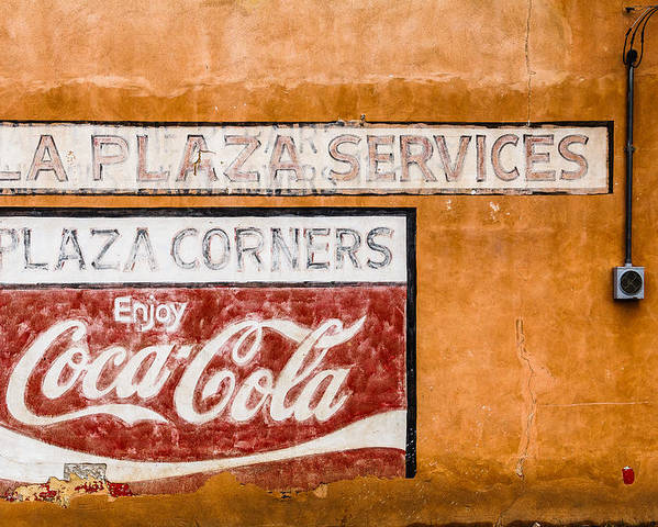 Steven Bateson Poster featuring the photograph Plaza Corner Coca Cola Sign by Steven Bateson