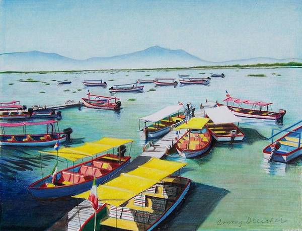 Sea Scape Poster featuring the mixed media Pleasure Boats On Lake Chapala by Constance Drescher
