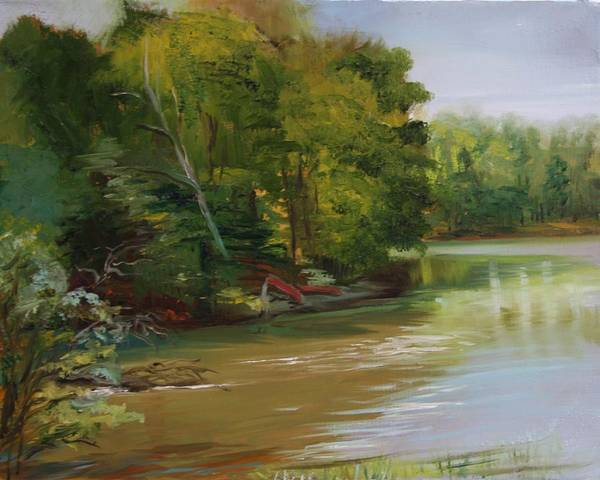 Lake Poster featuring the painting Plein Air Willow Creek by Jill Holt