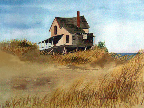 Landscape Poster featuring the print Plum Island Shack by Anne Trotter Hodge