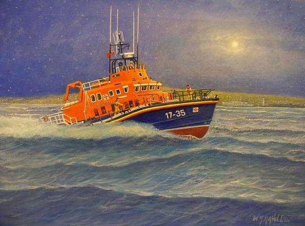 Acrylic On Canvas Poster featuring the painting Plymouth Lifeboat by William Ravell