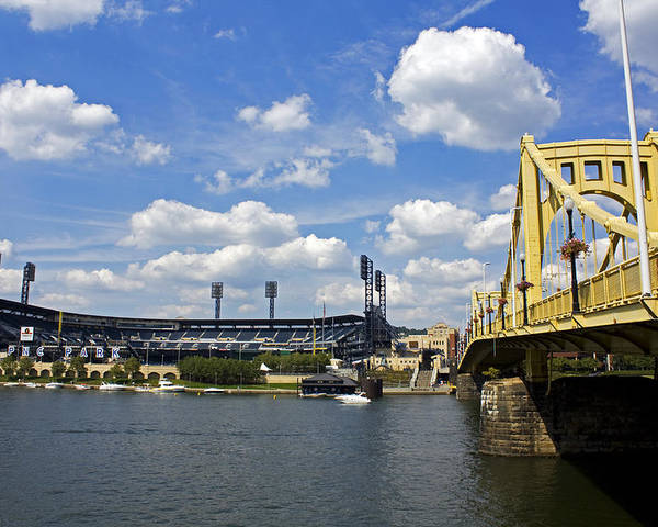 Pittsburgh Poster featuring the photograph Pnc Park And Roberto Clemente Bridge Pittsburgh Pa by Kristen Vota