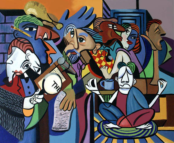 Poets Unleashed Men Talking Reading Yoga Coffee Chicken The Cubism Cubestraction Bench Impressionist Expressionism Large Giclee Canvas Print Poster Original Oil Painting On Canvas Anthony Falbo Falboart   Poster featuring the painting Poets Unleashed by Anthony Falbo