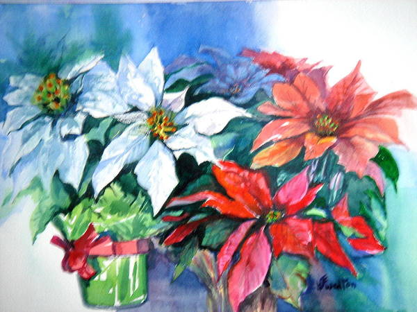Poinsettias Poster featuring the painting Poinsettia Gifts by Judy Fischer Walton
