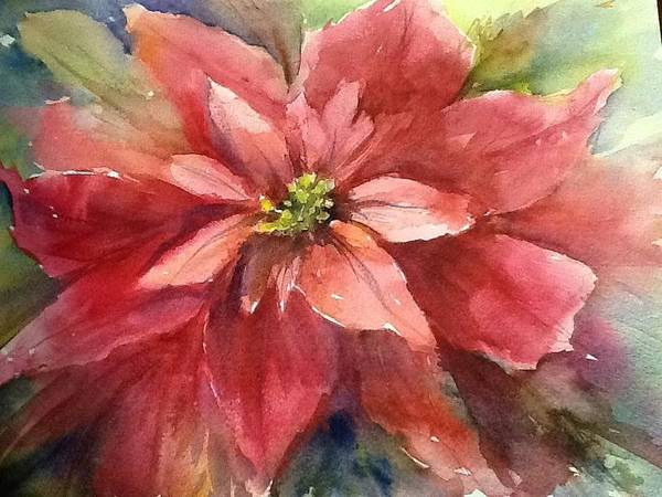 Poinsettia Poster featuring the painting Poinsettia by Sherry Jarvis