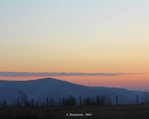 Grass Poster featuring the photograph Point Mountain Sun Set by Carolyn Postelwait
