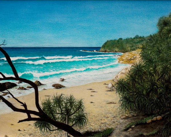 Seascape; Point Perry Poster featuring the painting Point Perry Coolum Beach by Joe Michelli
