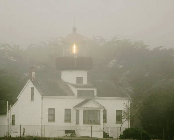 Point Pinos Lighthouse Poster featuring the photograph Point Pinos Lighthouse In A Foggy Night - Pacific Grove Monterey Central Ca by Christine Till