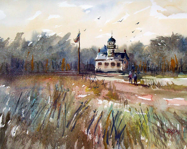 Watercolor Poster featuring the painting Point Pinos Lighthouse by Ryan Radke
