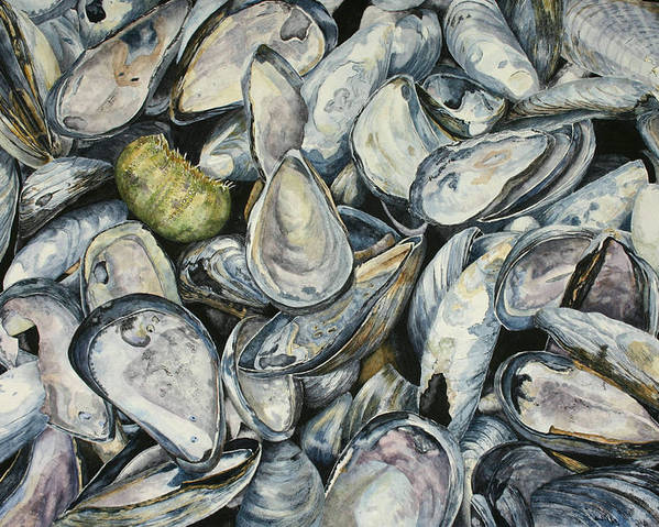 Mussel Shells Poster featuring the painting Point Pleasant Buffet Garden by Helen Shideler