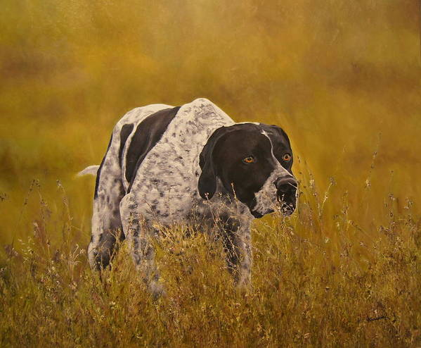 Erna Goudbeek Poster featuring the painting Pointer...to The Point....... by Erna Goudbeek