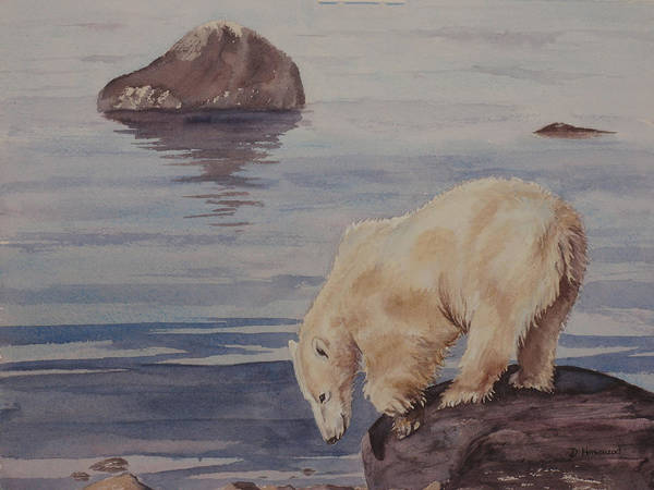 Polar Bear Poster featuring the painting Polar Bear Fishing by Debbie Homewood