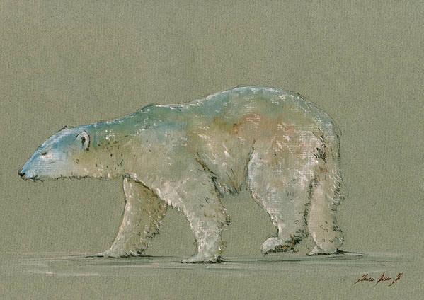Polar Bear Poster featuring the painting Polar bear original watercolor painting art by Juan Bosco