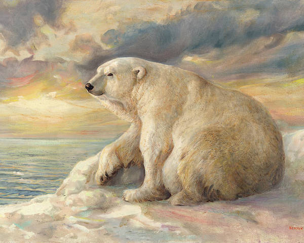 Polar Bear Poster featuring the painting Polar Bear Rests On The Ice - Arctic Alaska by Svitozar Nenyuk