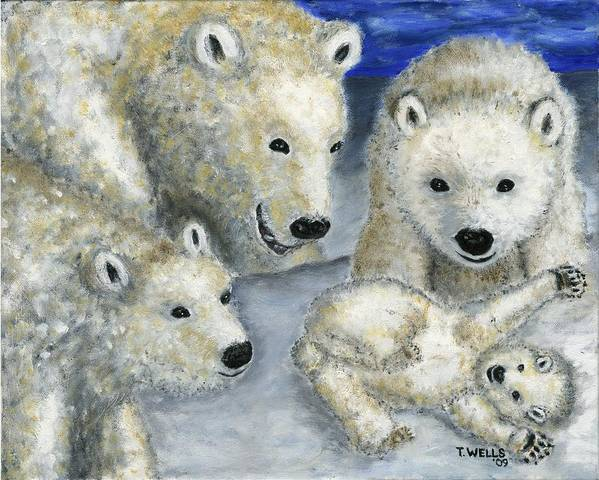 Polar Bears Poster featuring the painting Polar Bears at Play in the Arctic by Tanna Lee M Wells