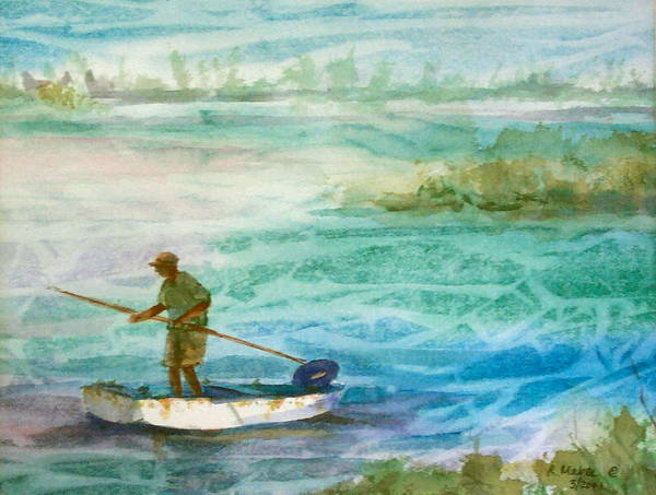 Seascape Poster featuring the painting Poling The Flats by Ruth Mabee