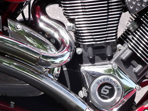 Polished Motorcycle Chrome Detail Photo Poster featuring the photograph Polished Motorcycle Chrome by Cherokee Blue