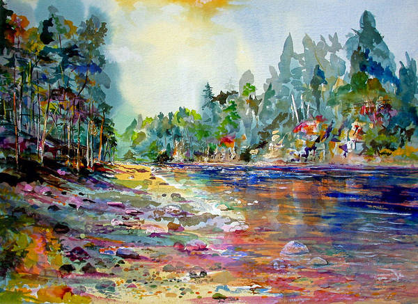 Salmon River Poster featuring the painting Polveir Royal Dee Scotland by Mike Shepley DA Edin