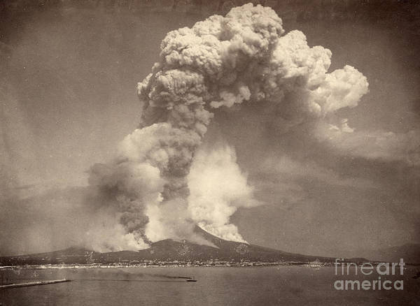 1872 Poster featuring the photograph Pompeii: Mount Vesuvius by Granger