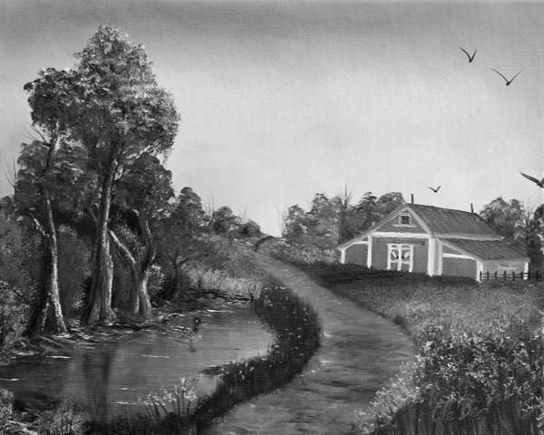 Black And White Poster featuring the painting Pond By The Red Barn In Black And White by Claude Beaulac