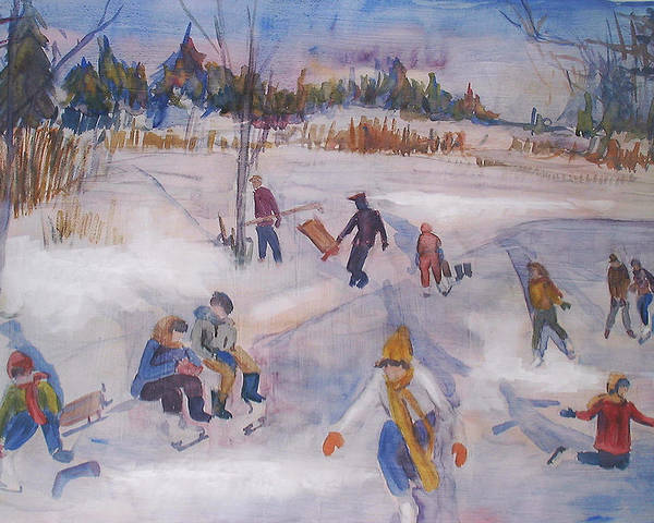 Landscape Poster featuring the painting Pond Eddy Skating by Joyce Kanyuk