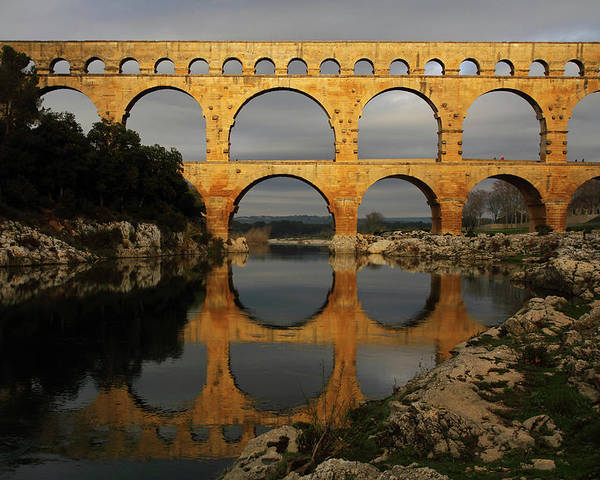 Horizontal Poster featuring the photograph Pont Du Gard by Boccalupo Photography