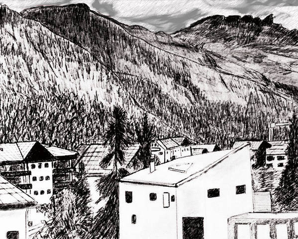 Switzerland Poster featuring the drawing Pontresina Black And White by Monica Engeler