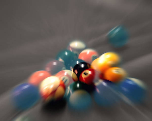 Pool Balls Poster featuring the photograph Pool Ball Break 2 by Steve Ohlsen