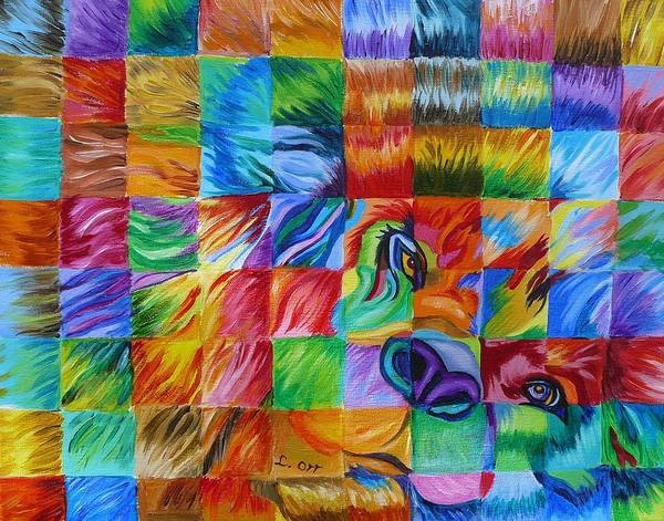 Animals Poster featuring the painting Pop Art Lion by Loretta Orr